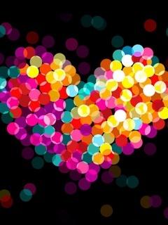 Rainbow Heart Mobile Wallpaper