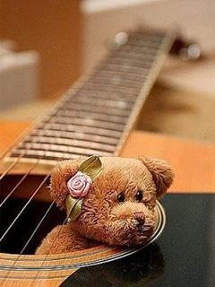 Teddy Inside Guitar Mobile Wallpaper
