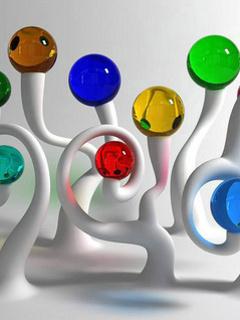 Crystal Color Balls Mobile Wallpaper