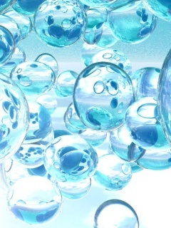 3D Blue Bubbles Mobile Wallpaper