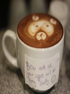 Bear Cappuccino Mobile Wallpaper