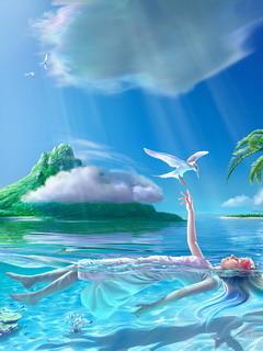 Girl In Paradise Mobile Wallpaper