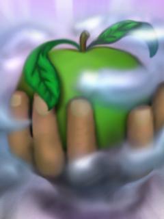 3D Green Apple Mobile Wallpaper