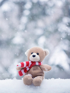 Teddy On Snow Mobile Wallpaper