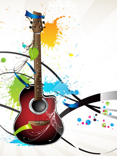Color Art Guitar Mobile Wallpaper