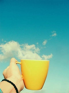 Coffee Yellow Sky Mobile Wallpaper