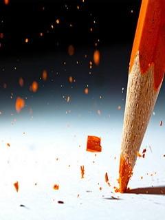 Orange Pencil Splash Mobile Wallpaper