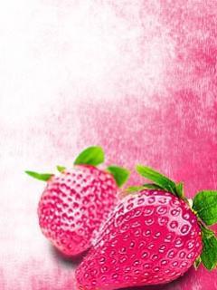 Pink Strawberries Mobile Wallpaper