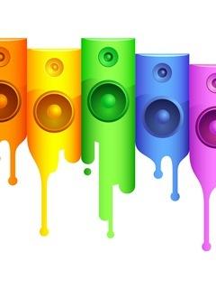 Colorful Music Speaker Mobile Wallpaper