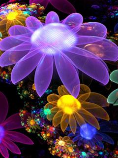 Neon Flowers Mobile Wallpaper