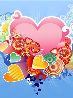 Colors Hearts Mobile Wallpaper