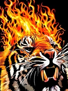 Fire Tiger Mobile Wallpaper
