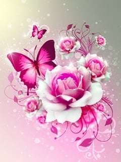 Download Pink Butterfly Mobile Wallpaper | Mobile Toones