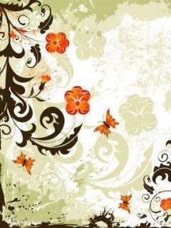 Art Flower Butterfly Mobile Wallpaper
