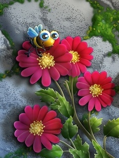 3D Flowers And Bee Mobile Wallpaper