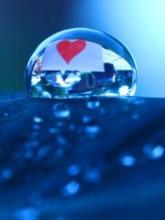 Blue 3D Love Drop Mobile Wallpaper