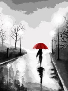 Alone In Th Rain Mobile Wallpaper