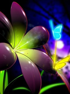 3D Neon  Flower Mobile Wallpaper