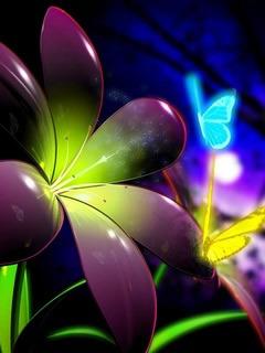 3D Neon Flower Mobile Wallpaper