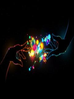 Digital Colors Hand Mobile Wallpaper