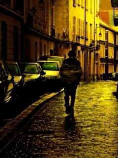 Boy Alone In  City Mobile Wallpaper