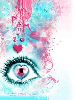 3D Hearts Eye Mobile Wallpaper