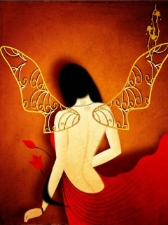 Hot Red Angel Mobile Wallpaper