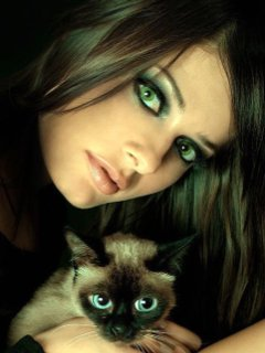 Woman With Cat Mobile Wallpaper