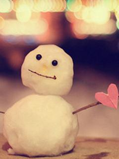 Heart Snowman Mobile Wallpaper