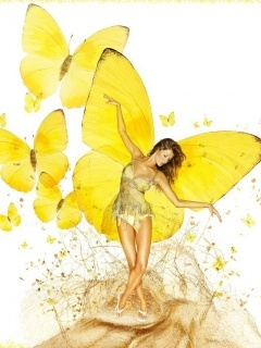 Yellow Butterfly Girl Mobile Wallpaper