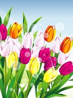 3D Abstract Tulips Mobile Wallpaper