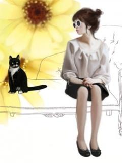 Girl With Kitten Mobile Wallpaper