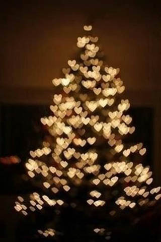 Cute Hearts Christmas Tree  Mobile Wallpaper