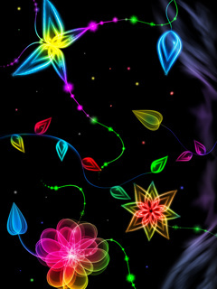 Neon 3D Flowers Mobile Wallpaper