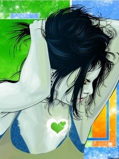 Green Hearts Sketch Beauty Mobile Wallpaper