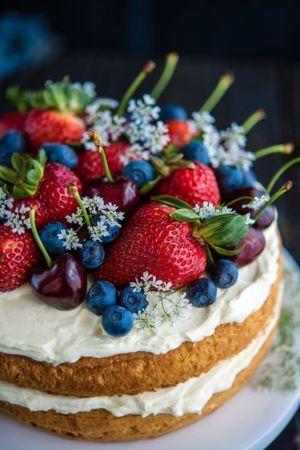 Cake Berries And Cherries Mobile Wallpaper