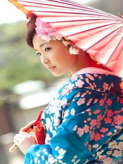 Pink Umbrella Japanese Girl Mobile Wallpaper