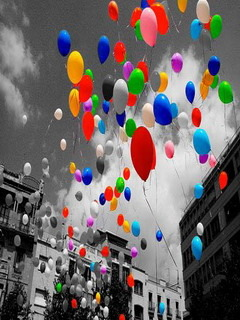 Colors Balloons Flying Mobile Wallpaper