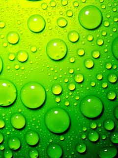 Green 3D Drops Mobile Wallpaper