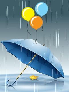 Rain Blue & Balloon Over Umbrella Mobile Wallpaper