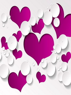 Lovely Purple Hearts Mobile Wallpaper