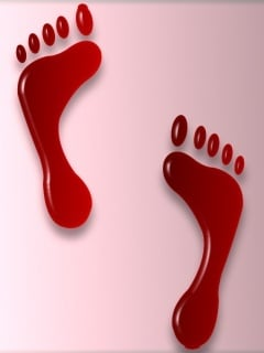 Red FootPrints Mobile Wallpaper
