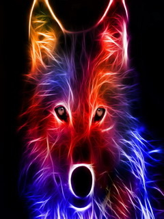 Abstract Wolf Colors Mobile Wallpaper