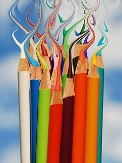 Colors Splash Pencils Mobile Wallpaper