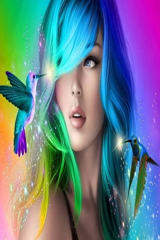Abstract Colors Beauty Girl IPhone Wallpaper Mobile Wallpaper