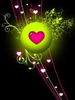 Abstract Green Hearts Love Mobile Wallpaper