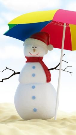 Umbrella Summer Snowman Android Wallpaper Mobile Wallpaper