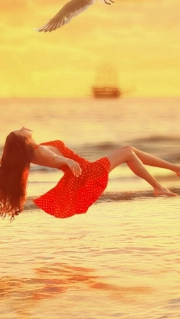 Fly Red Girl On Sea Android & IPhone Wallpaper Mobile Wallpaper