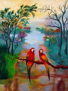 Parrots 3D Nature Mobile Wallpaper