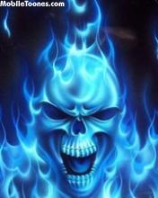 Skull Blue Fire Mobile Wallpaper